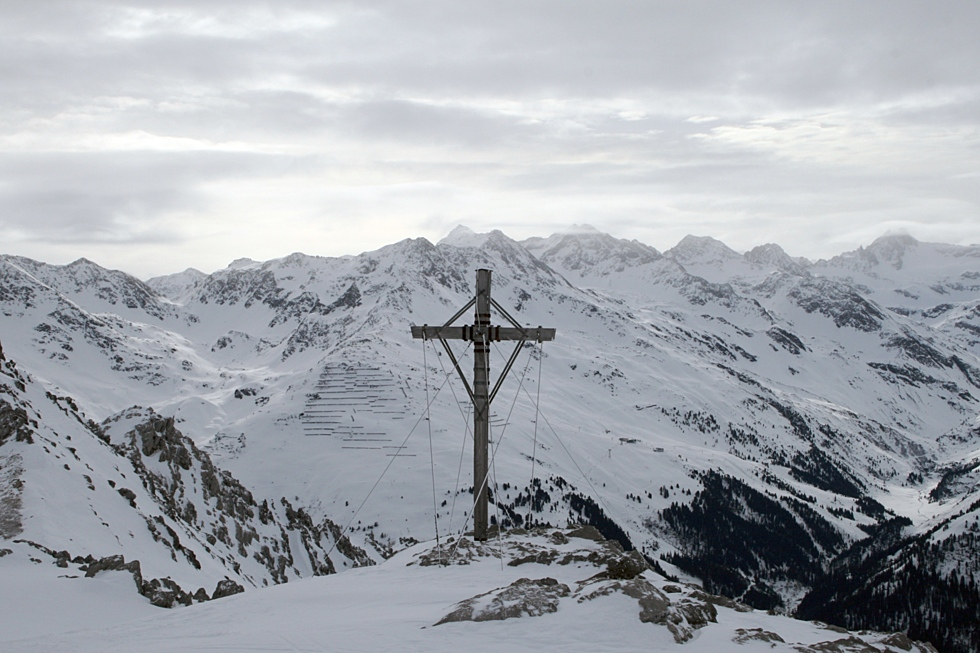 Photo of cross on top of mountain in St. Anton